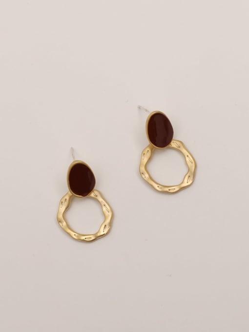 Matte gold + wine red Brass Enamel Geometric Vintage Stud Earring
