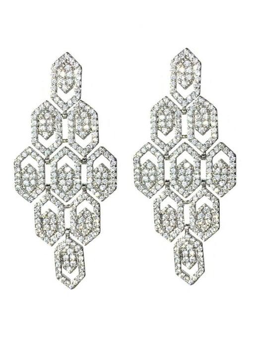 SUUTO Brass Cubic Zirconia Geometric Hip Hop Cluster Earring 4