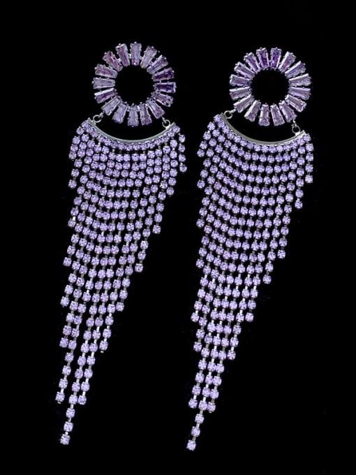 SUUTO Brass Cubic Zirconia Tassel Luxury Drop Earring