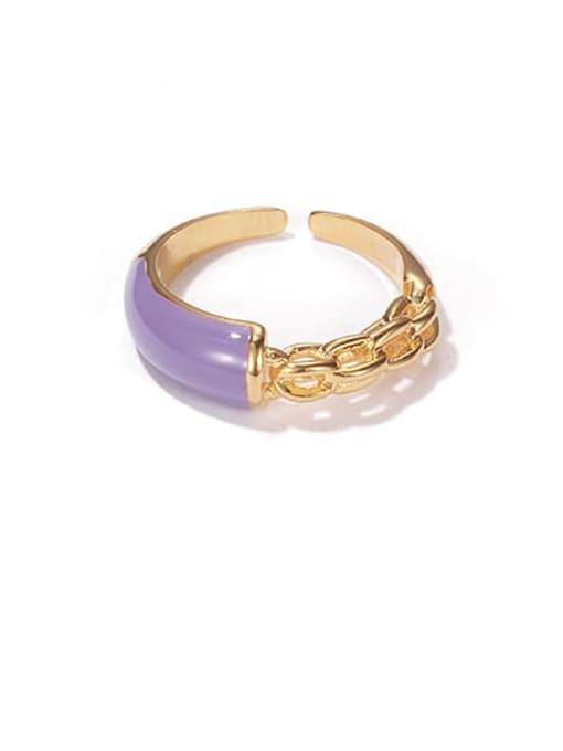 Purple oil dripping ring Brass Enamel Geometric Minimalist Band Ring