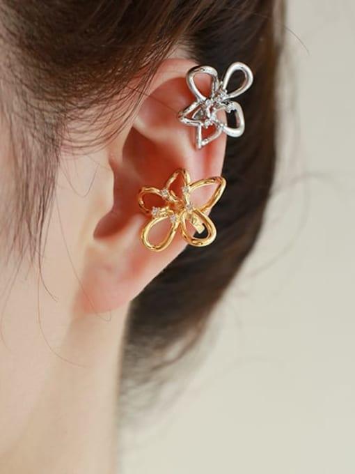 Five Color Brass Cubic Zirconia Flower Minimalist Stud Earring 1