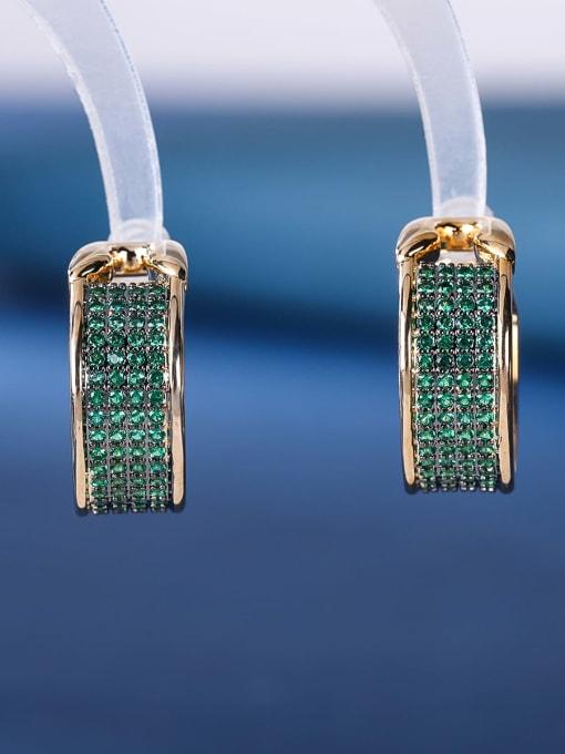 green Brass Cubic Zirconia Geometric Luxury Stud Earring