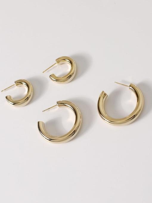 HYACINTH Brass Smooth Geometric Minimalist Hoop Earring