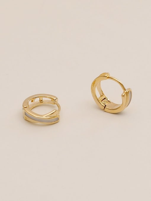 HYACINTH Brass Cubic Zirconia Geometric Minimalist Huggie Earring 3