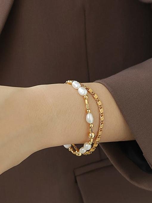 ACCA Brass Imitation Pearl Geometric Hip Hop Strand Bracelet 1
