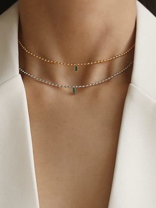 TINGS Brass Bead Chain   Minimalist Geometric Pendant Necklace 1