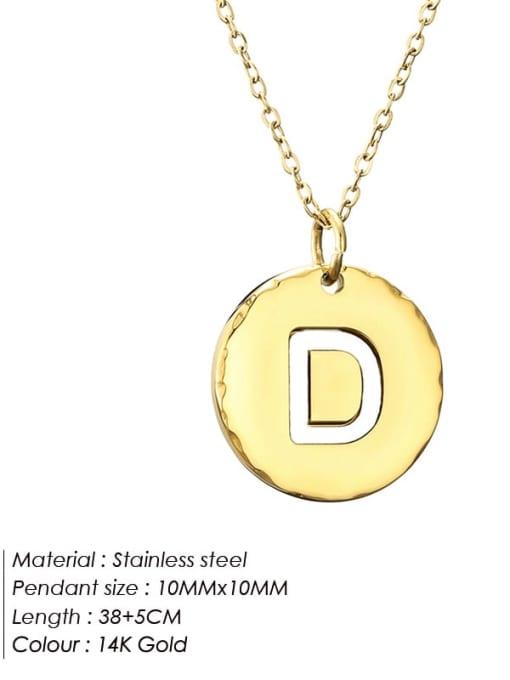 D Titanium Steel Letter Minimalist Round Pendant Necklace