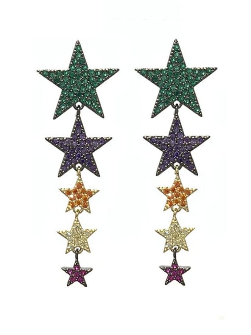 colour Brass Cubic Zirconia Star Ethnic Drop Earring