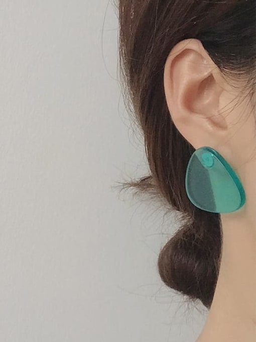 Five Color Alloy Acrylic Round Cute Stud Earring 1