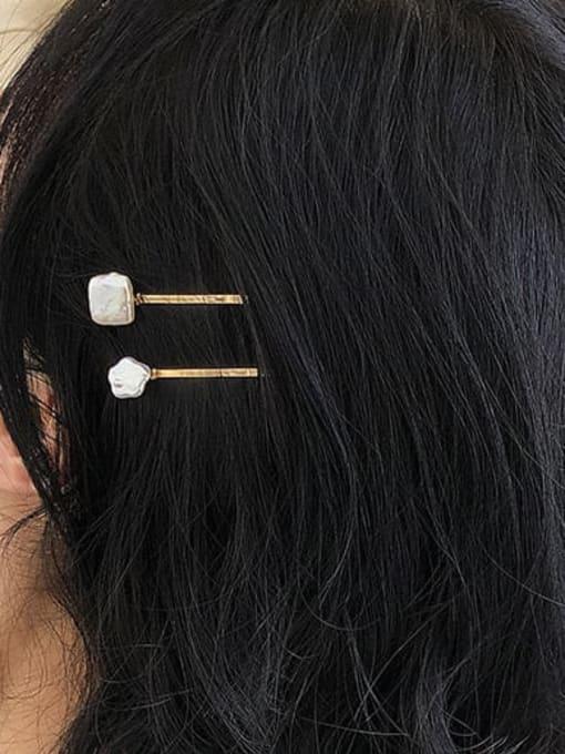 Five Color Brass Freshwater Pearl Vintage Irregular  Hair Barrette 2