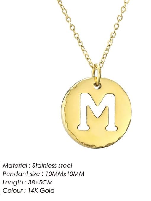 M Titanium Steel Letter Minimalist Round Pendant Necklace