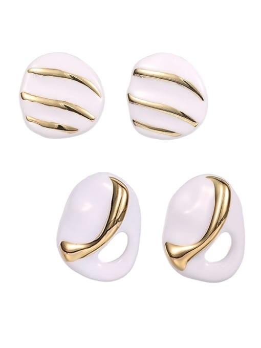 ACCA Brass Enamel Geometric Hip Hop Stud Earring 0