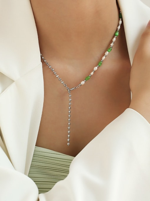 TINGS Brass Imitation Pearl Geometric Minimalist Beaded Necklace 2