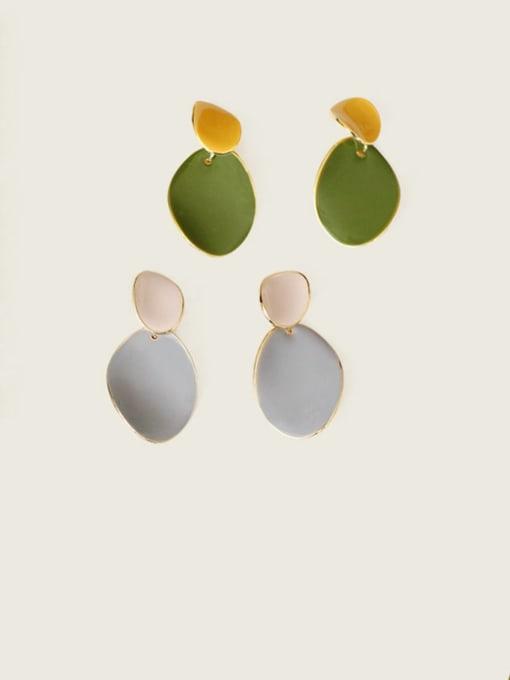 Five Color Alloy Enamel Geometric Cute Drop Earring 2