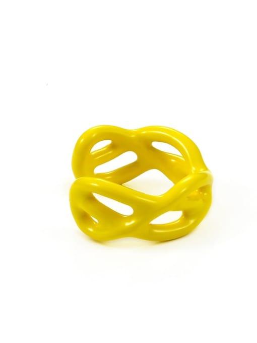 Yellow drop oil Zinc Alloy  Enamel Geometric Minimalist Band Ring