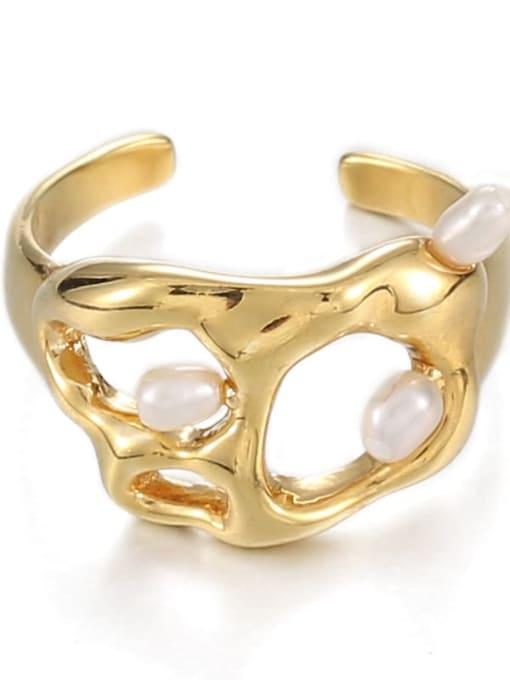Hollow ring (size 7) Brass Imitation Pearl Irregular Hip Hop Band Ring