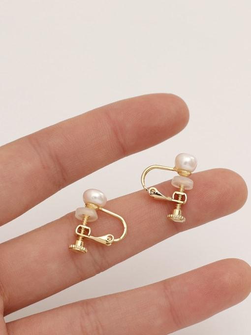 HYACINTH Brass Imitation Pearl Geometric Ethnic Clip Earring 3
