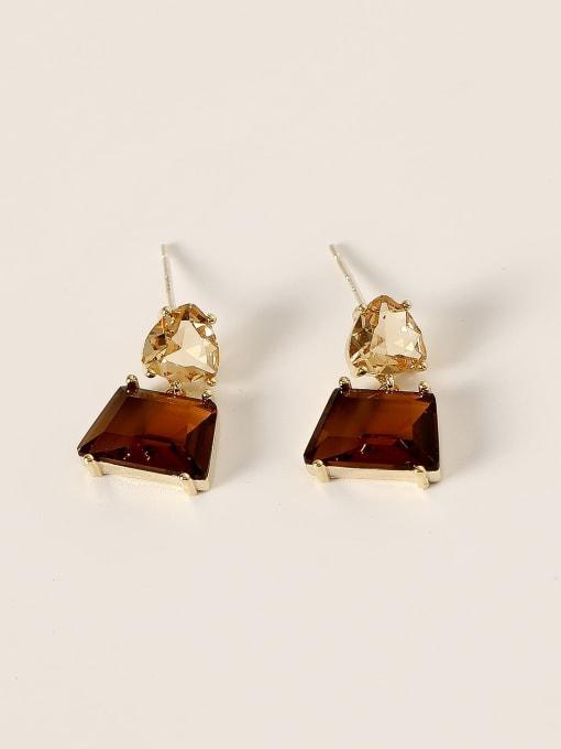 14k Gold Brass Glass Stone Geometric Vintage Drop Earring