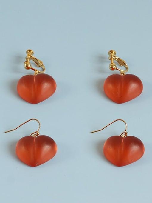 Peach ear clip Alloy Resin Heart Cute Hook Earring