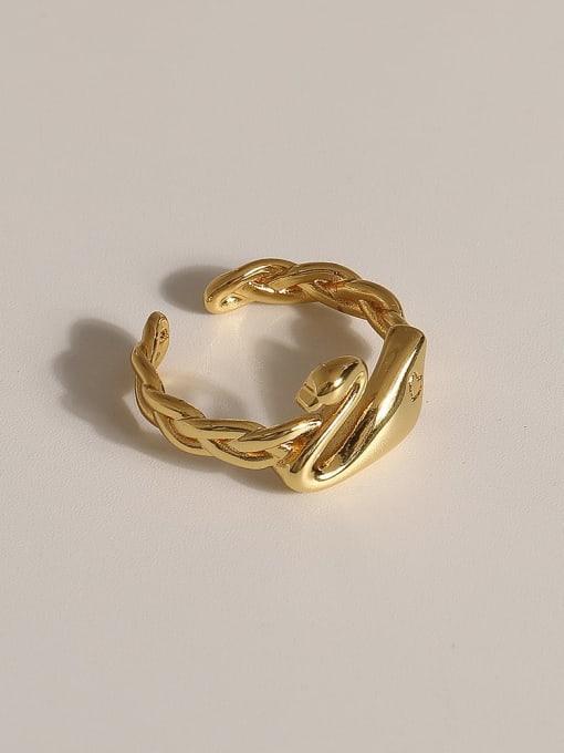 JZ086 Brass Geometric Vintage Band Ring