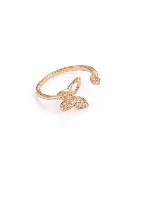 Single butterfly Brass Cubic Zirconia Butterfly Minimalist Band Ring