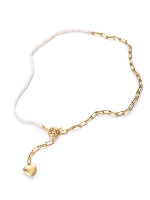 Five Color Brass Imitation Pearl Heart Minimalist Lariat Necklace