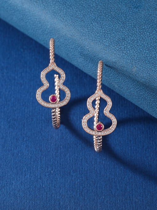 rose gold Brass Cubic Zirconia Heart Statement Huggie Earring