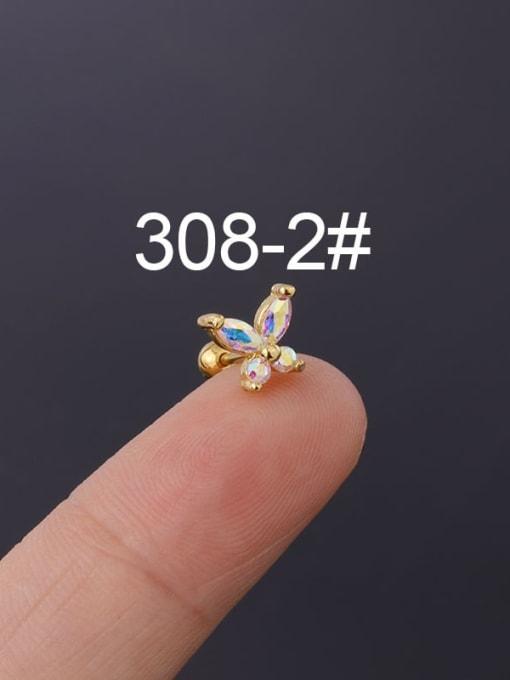 2(Single) Brass Cubic Zirconia Butterfly Cute Stud Earring
