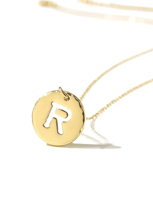 Desoto Titanium Steel Letter Minimalist Round Pendant Necklace 3
