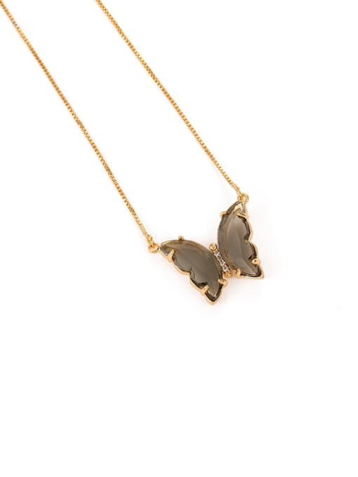Five Color Brass Cubic Zirconia Butterfly Minimalist Necklace 0