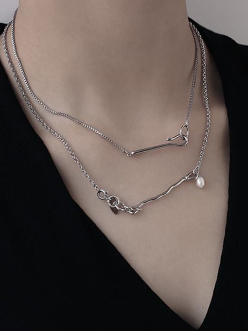 TINGS Brass Geometric Hip Hop Lariat Necklace 2