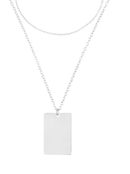 Desoto Stainless steel Minimalist  Geometric Pendant Multi Strand Necklace 0