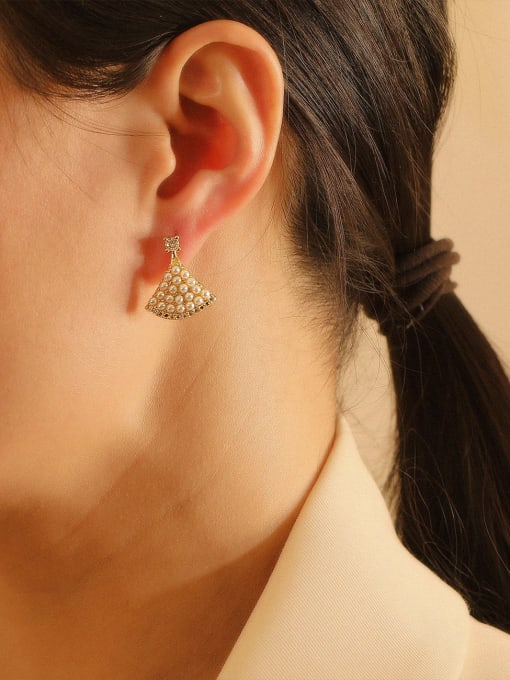 HYACINTH Brass Imitation Pearl Triangle Bohemia Stud Earring 1