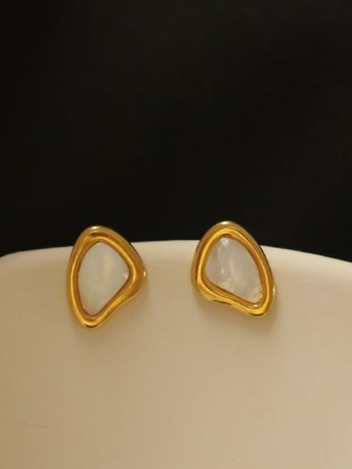ACCA Brass Shell Geometric Minimalist Stud Earring 3