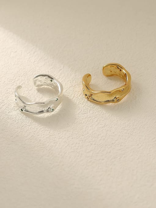 HYACINTH Brass Geometric Minimalist Band Ring 3