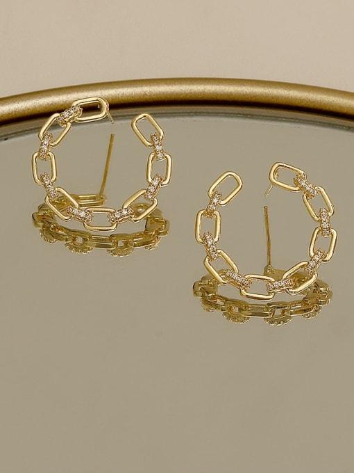 HYACINTH Copper Cubic Zirconia Geometric Minimalist Stud Earring 1