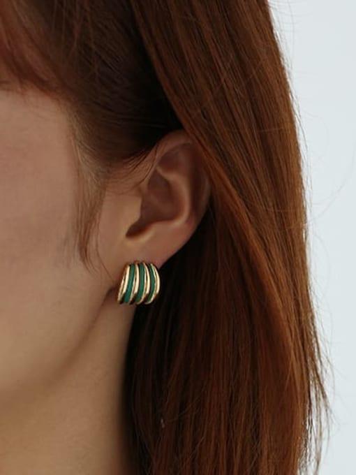 ACCA Brass Enamel Geometric Minimalist Stud Earring 1