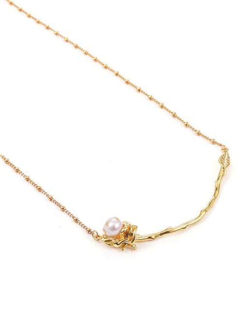 Five Color Brass Imitation Pearl Flower Hip Hop Necklace