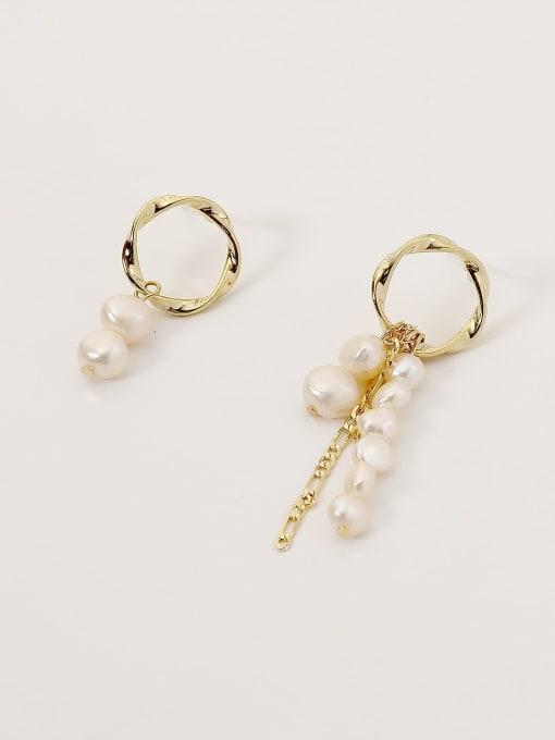 HYACINTH Brass Imitation Pearl Geometric Minimalist Drop Earring 4