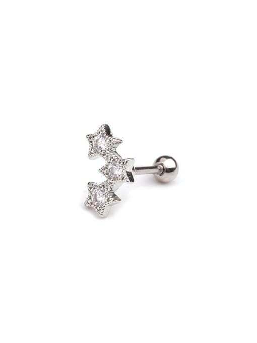 8(Single) Brass Cubic Zirconia Irregular Minimalist Stud Earring