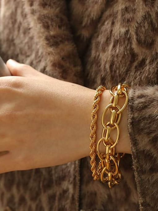 ACCA Brass Hollow Geometric  Chain Vintage Link Bracelet 1