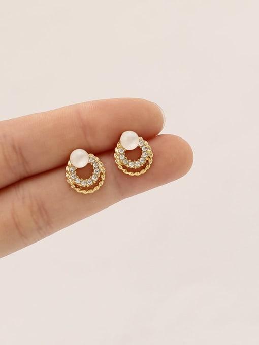 HYACINTH Brass Imitation Pearl Round Ethnic Stud Earring 1