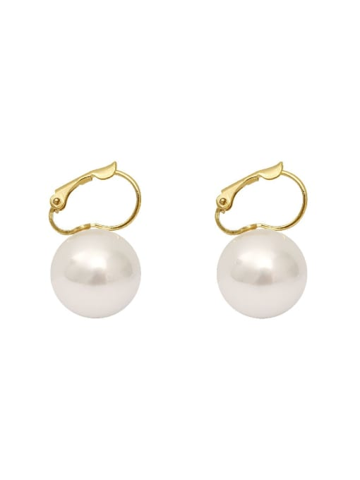 14 K gold Copper Imitation Pearl Geometric Minimalist Huggie Earring