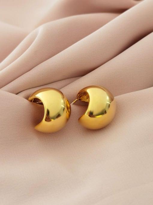 HYACINTH Brass  Minimalist  Smooth Geometric  Stud Earring