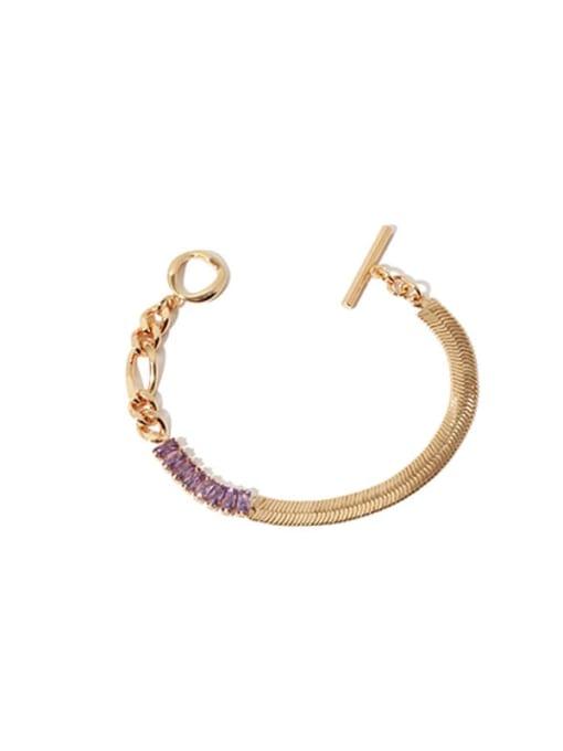 Gold Bracelet Brass Cubic Zirconia Geometric Vintage Snake Bone Chain  Necklace