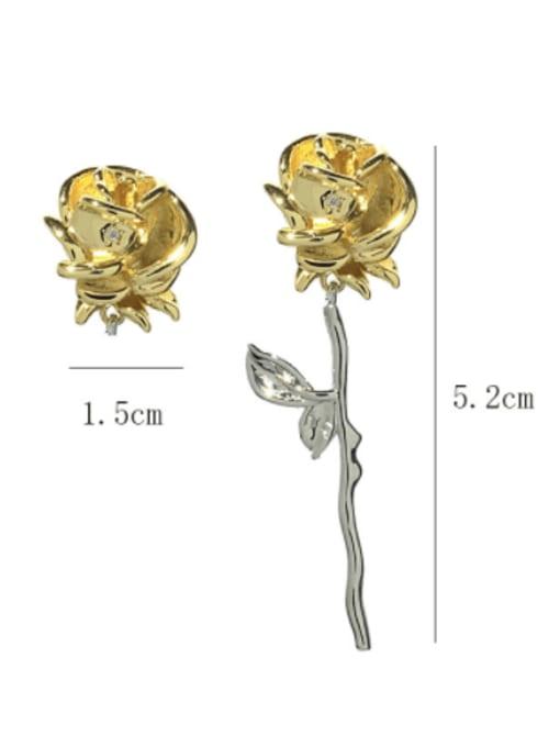 SUUTO Alloy Asymmetry Flower Vintage Stud Earring 3