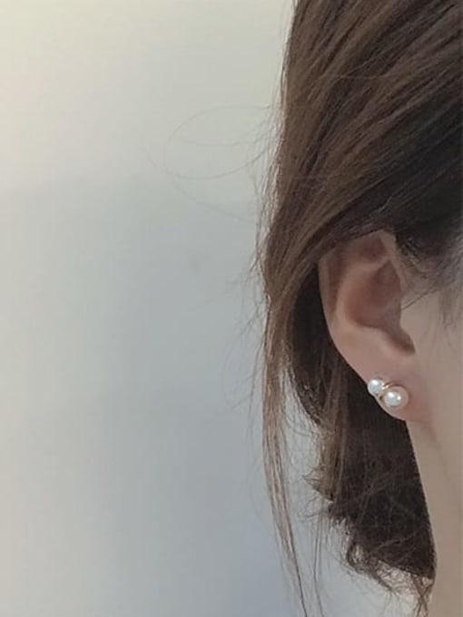 Five Color Alloy Imitation Pearl Geometric Cute Stud Earring 2