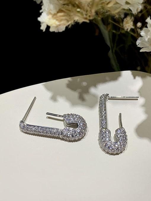 SUUTO Brass Cubic Zirconia Geometric Vintage Hook Earring 1