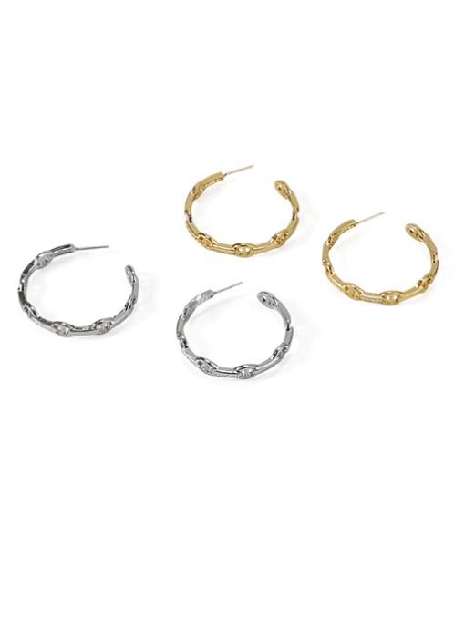 ACCA Brass Geometric Vintage Hoop Earring 0