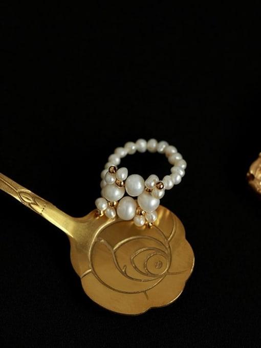 Five Color Brass Imitation Pearl Geometric Minimalist Band Ring 0